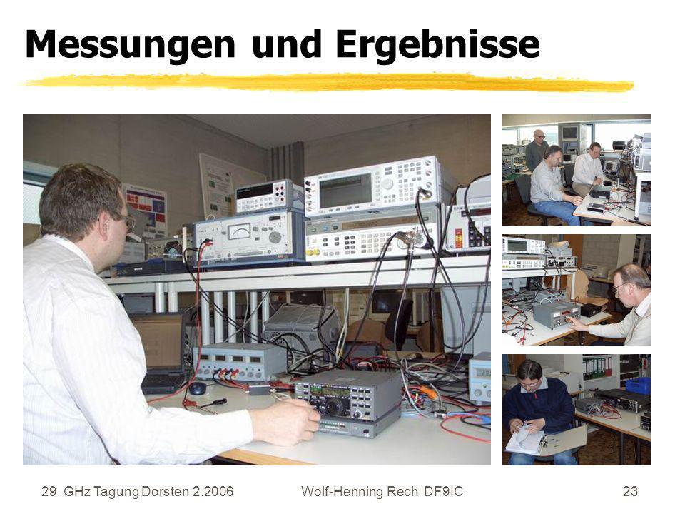 29. GHz Tagung Dorsten 2.2006Wolf-Henning Rech DF9IC23 Messungen und Ergebnisse