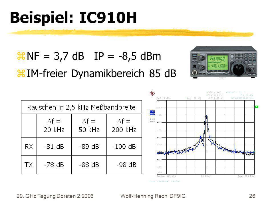 29. GHz Tagung Dorsten 2.2006Wolf-Henning Rech DF9IC26 Beispiel: IC910H zNF = 3,7 dB IP = -8,5 dBm zIM-freier Dynamikbereich 85 dB