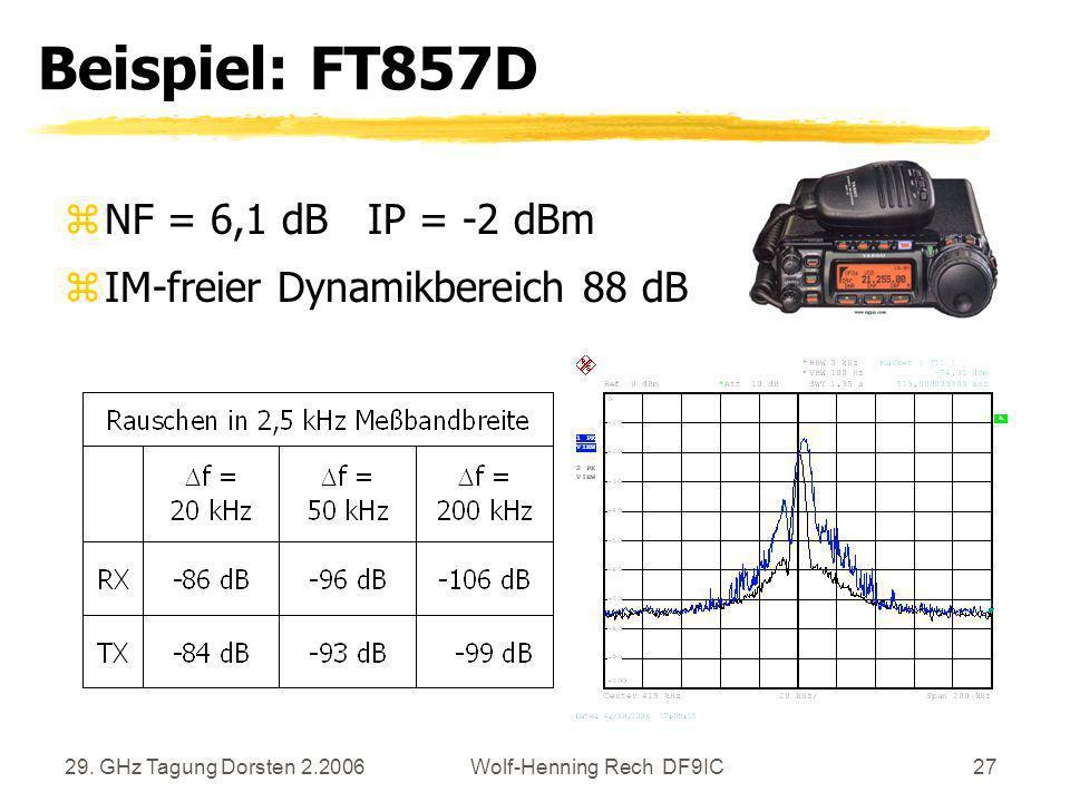 29. GHz Tagung Dorsten 2.2006Wolf-Henning Rech DF9IC27 Beispiel: FT857D zNF = 6,1 dB IP = -2 dBm zIM-freier Dynamikbereich 88 dB