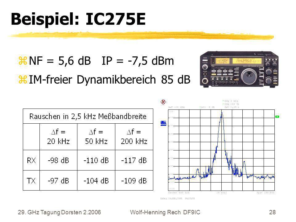 29. GHz Tagung Dorsten 2.2006Wolf-Henning Rech DF9IC28 Beispiel: IC275E zNF = 5,6 dB IP = -7,5 dBm zIM-freier Dynamikbereich 85 dB
