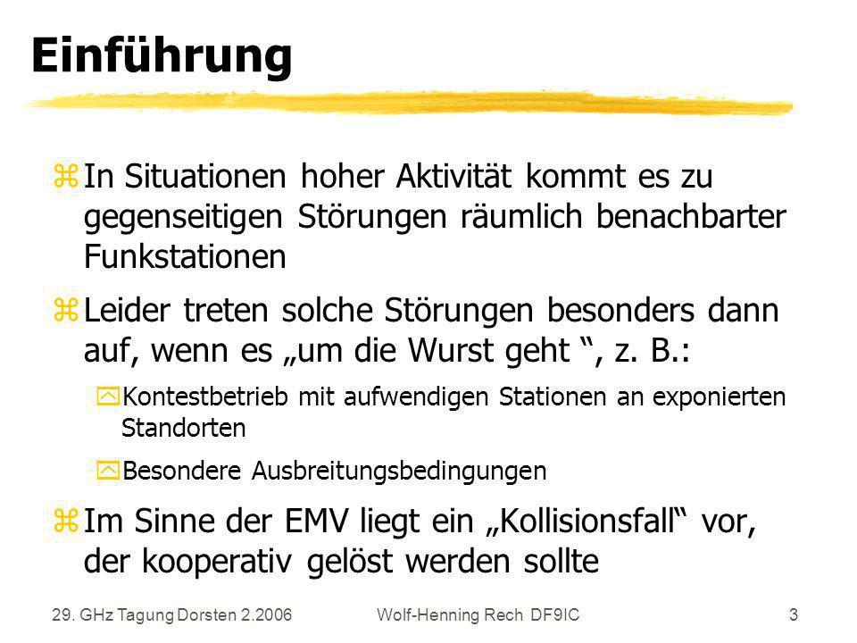 29. GHz Tagung Dorsten 2.2006Wolf-Henning Rech DF9IC3 Einführung zIn Situationen hoher Aktivität kommt es zu gegenseitigen Störungen räumlich benachba