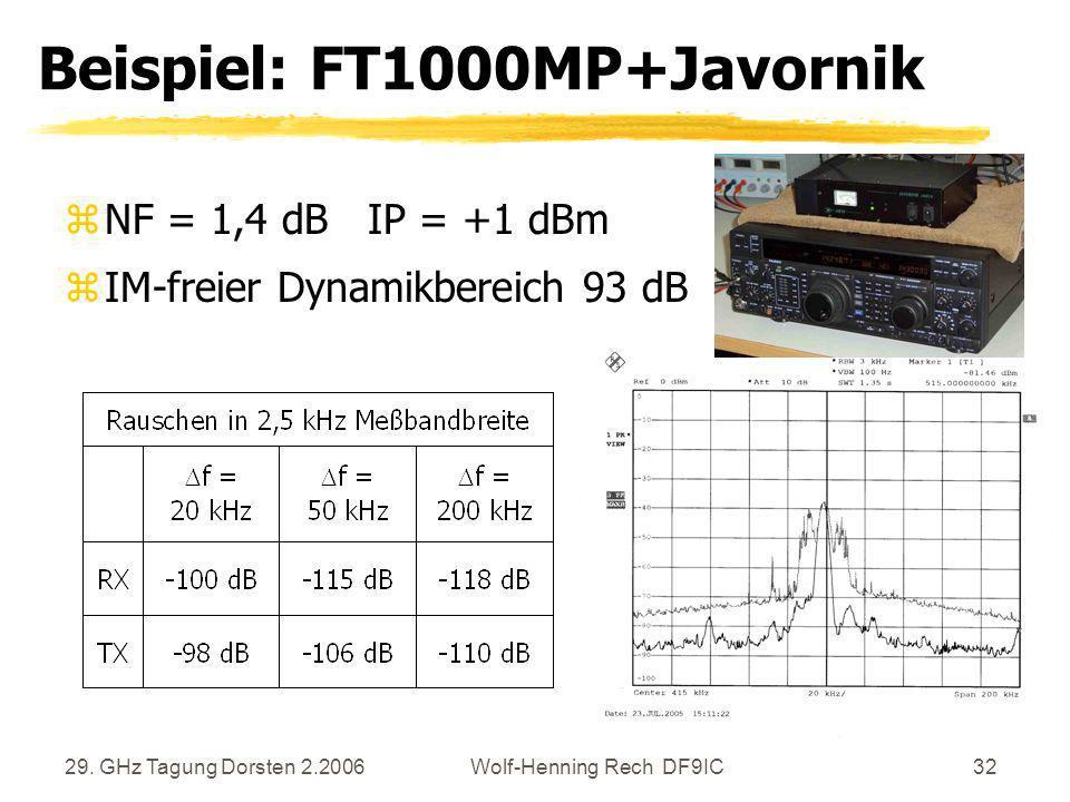 29. GHz Tagung Dorsten 2.2006Wolf-Henning Rech DF9IC32 Beispiel: FT1000MP+Javornik zNF = 1,4 dB IP = +1 dBm zIM-freier Dynamikbereich 93 dB