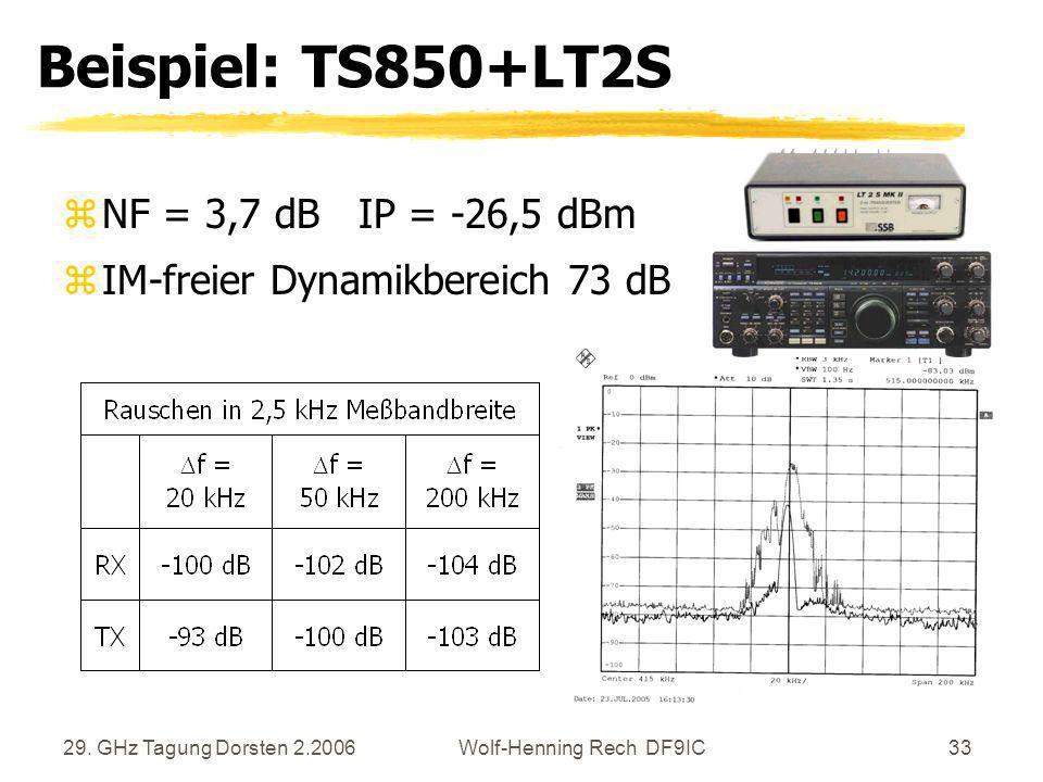 29. GHz Tagung Dorsten 2.2006Wolf-Henning Rech DF9IC33 Beispiel: TS850+LT2S zNF = 3,7 dB IP = -26,5 dBm zIM-freier Dynamikbereich 73 dB