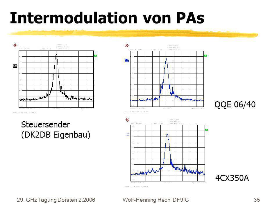 29. GHz Tagung Dorsten 2.2006Wolf-Henning Rech DF9IC35 Intermodulation von PAs Steuersender (DK2DB Eigenbau) QQE 06/40 4CX350A