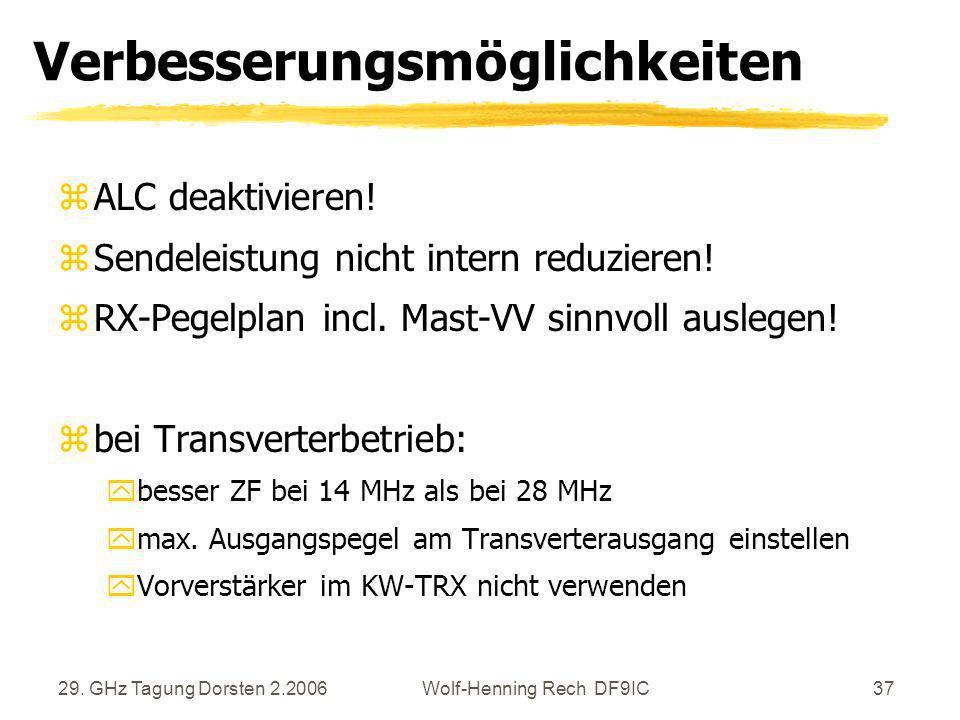 29. GHz Tagung Dorsten 2.2006Wolf-Henning Rech DF9IC37 Verbesserungsmöglichkeiten zALC deaktivieren! zSendeleistung nicht intern reduzieren! zRX-Pegel