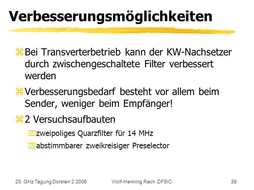 29. GHz Tagung Dorsten 2.2006Wolf-Henning Rech DF9IC38 Verbesserungsmöglichkeiten zBei Transverterbetrieb kann der KW-Nachsetzer durch zwischengeschal
