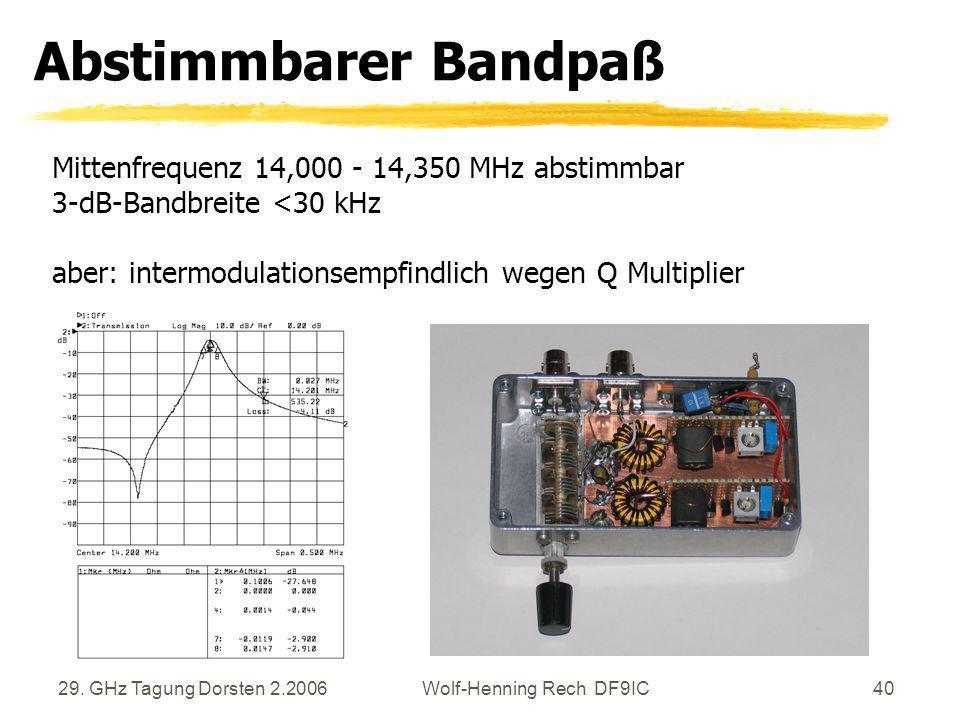 29. GHz Tagung Dorsten 2.2006Wolf-Henning Rech DF9IC40 Abstimmbarer Bandpaß Mittenfrequenz 14,000 - 14,350 MHz abstimmbar 3-dB-Bandbreite <30 kHz aber