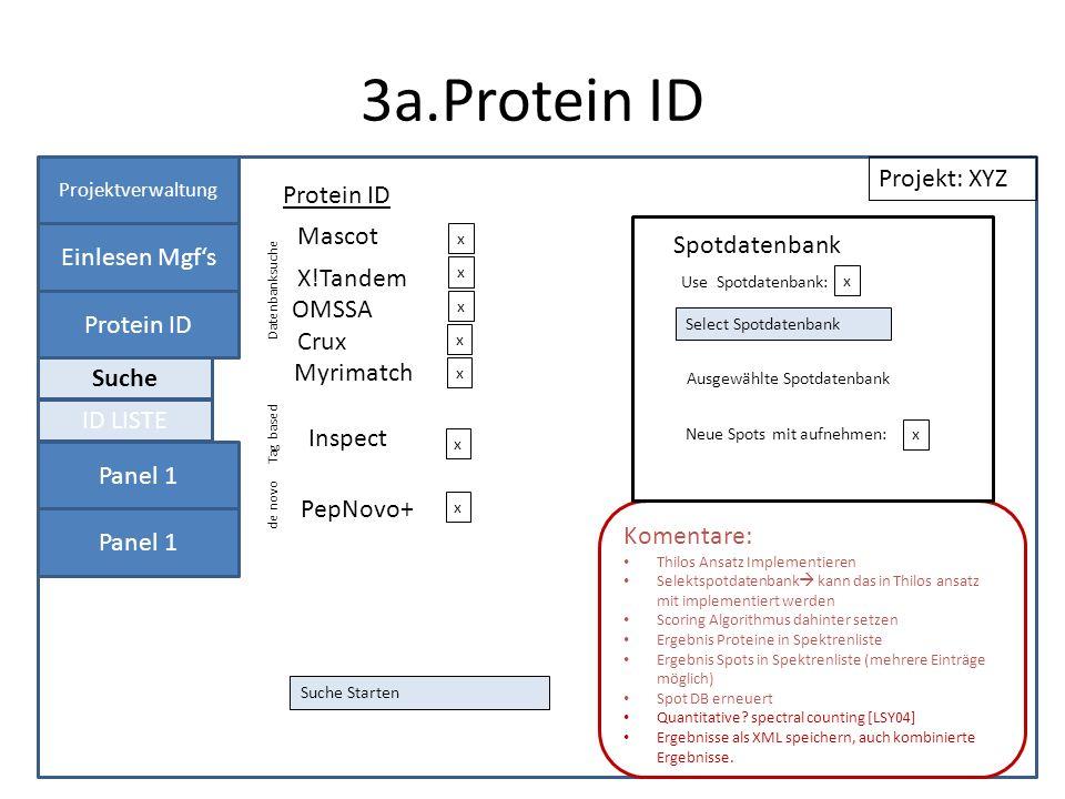 3a.Protein ID Projektverwaltung Einlesen Mgfs Protein ID Panel 1 Protein ID Projekt: XYZ Datenbanksuche X!Tandem Files Auswählen x Komentare: Thilos Ansatz Implementieren Selektspotdatenbank kann das in Thilos ansatz mit implementiert werden Scoring Algorithmus dahinter setzen Ergebnis Proteine in Spektrenliste Ergebnis Spots in Spektrenliste (mehrere Einträge möglich) Spot DB erneuert Quantitative.