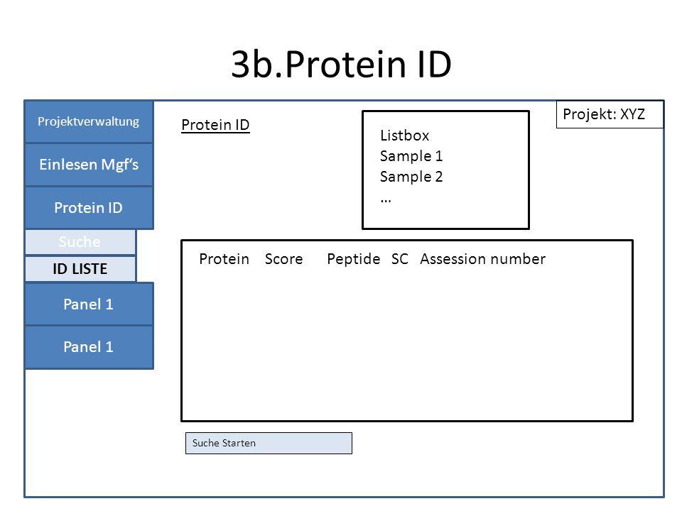 3b.Protein ID Projektverwaltung Einlesen Mgfs Protein ID Panel 1 Protein ID Projekt: XYZ Suche Starten ID LISTE Suche Listbox Sample 1 Sample 2 … Prot