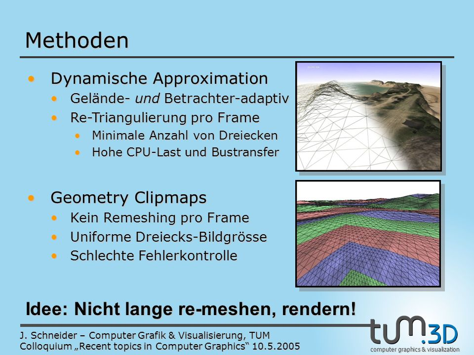 computer graphics & visualization J. Schneider – Computer Grafik & Visualisierung, TUM Colloquium Recent topics in Computer Graphics 10.5.2005 Methode
