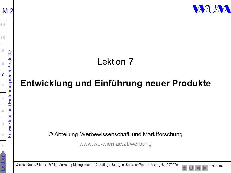 Entwicklung und Einführung neuer Produkte 11 10 9 8 7 6 5 4 3 2 1 Lektion M 2 Lektion 7 Entwicklung und Einführung neuer Produkte © Abteilung Werbewissenschaft und Marktforschung www.wu-wien.ac.at/werbung Quelle: Kotler/Bliemel (2001): Marketing-Management.