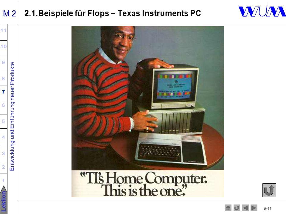 Entwicklung und Einführung neuer Produkte 11 10 9 8 7 6 5 4 3 2 1 Lektion M 2 6/44 2.1.Beispiele für Flops – Texas Instruments PC