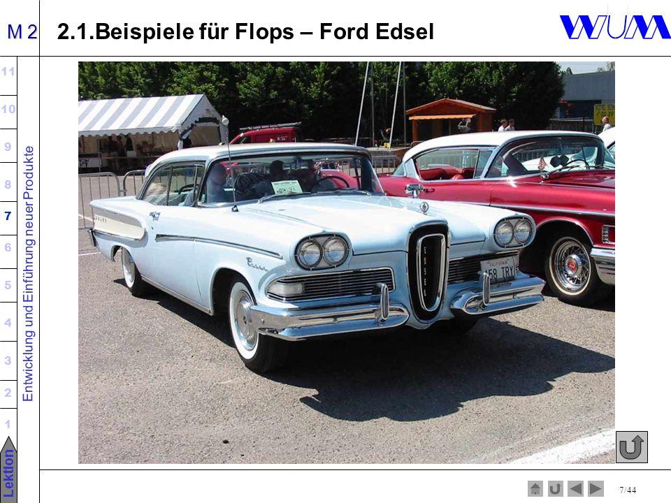 Entwicklung und Einführung neuer Produkte 11 10 9 8 7 6 5 4 3 2 1 Lektion M 2 7/44 2.1.Beispiele für Flops – Ford Edsel