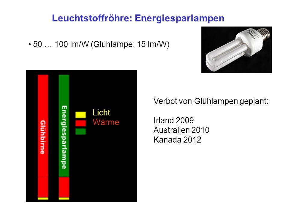 Leuchtstoffröhre: Energiesparlampen 50 … 100 lm/W (Glühlampe: 15 lm/W) Licht Wärme Verbot von Glühlampen geplant: Irland 2009 Australien 2010 Kanada 2012