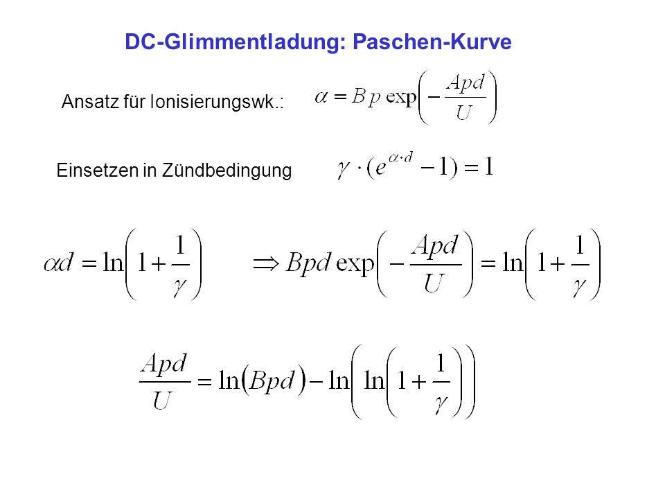 DC-Glimmentladung: Paschen-Kurve ergibt Zündspannung: für hohe Spannungen Feldemission für hohe Drücke: Funkendurch- bruch