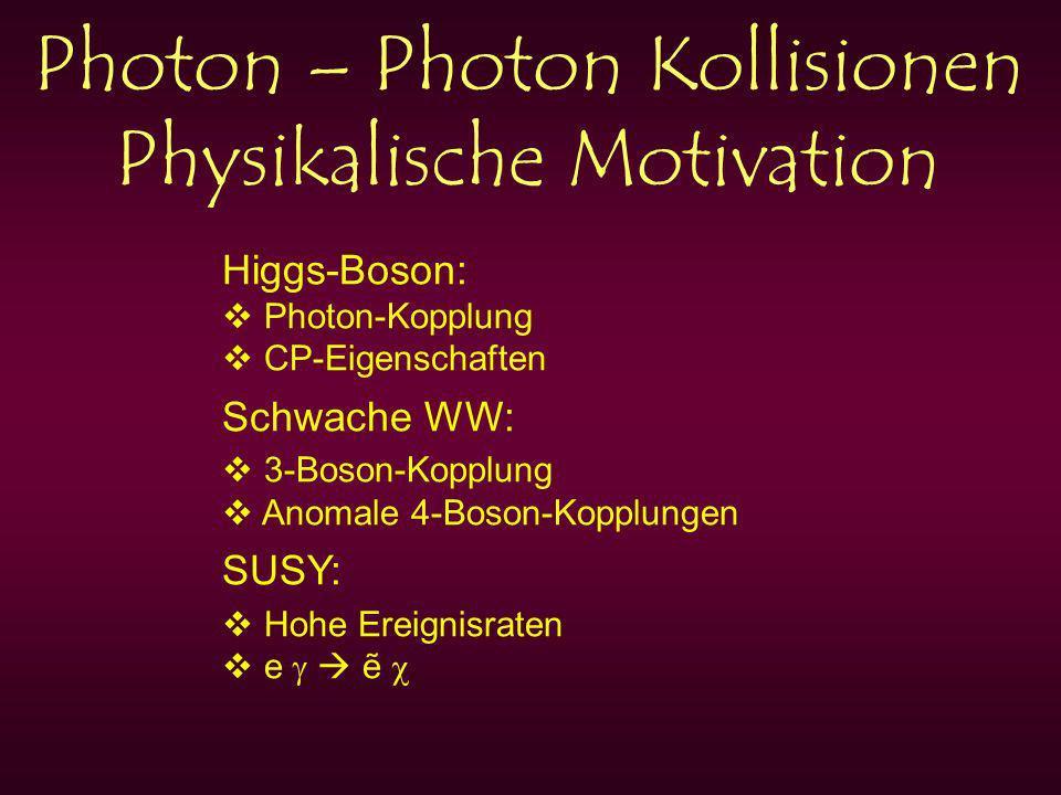 Photon – Photon Kollisionen Physikalische Motivation Higgs-Boson: Photon-Kopplung CP-Eigenschaften Schwache WW: 3-Boson-Kopplung Anomale 4-Boson-Kopplungen SUSY: Hohe Ereignisraten e