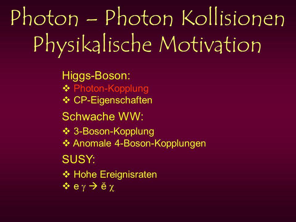 Photon – Photon Kollisionen Physikalische Motivation Higgs-Boson: Photon-Kopplung CP-Eigenschaften Schwache WW: 3-Boson-Kopplung Anomale 4-Boson-Kopplungen SUSY: Hohe Ereignisraten e ĕ