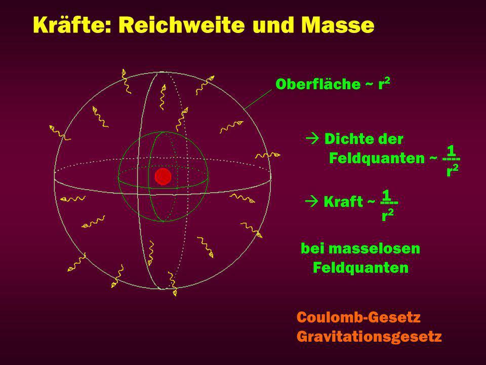 Kräfte: Reichweite und Masse Oberfläche ~ r 2 Dichte der Feldquanten ~ ---- Kraft ~ ---- r2r2 r2r2 1 1 bei masselosen Feldquanten Coulomb-Gesetz Gravitationsgesetz