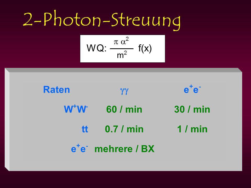 2-Photon-Streuung WQ: f(x) 2 m2m2 Raten e+e-e+e- W+W-W+W- 60 / min30 / min tt0.7 / min1 / min e+e-e+e- mehrere / BX