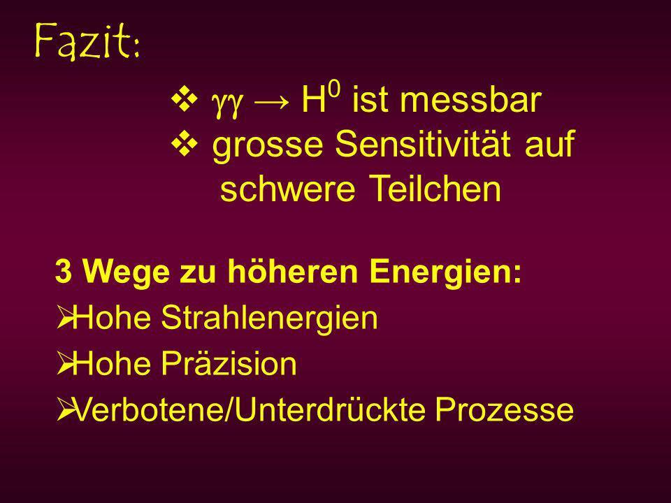 Fazit: H 0 ist messbar grosse Sensitivität auf schwere Teilchen 3 Wege zu höheren Energien: Hohe Strahlenergien Hohe Präzision Verbotene/Unterdrückte Prozesse