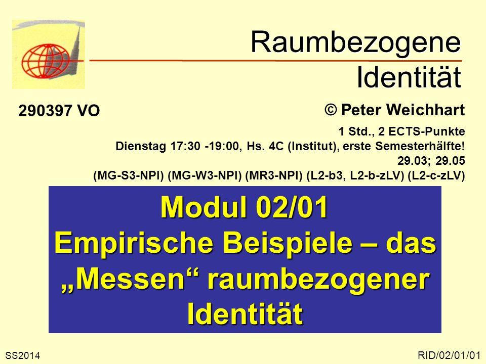 Raumbezogene Identität RID/02/01/01 © Peter Weichhart Modul 02/01 Empirische Beispiele – das Messen raumbezogener Identität SS2014 290397 VO 1 Std., 2