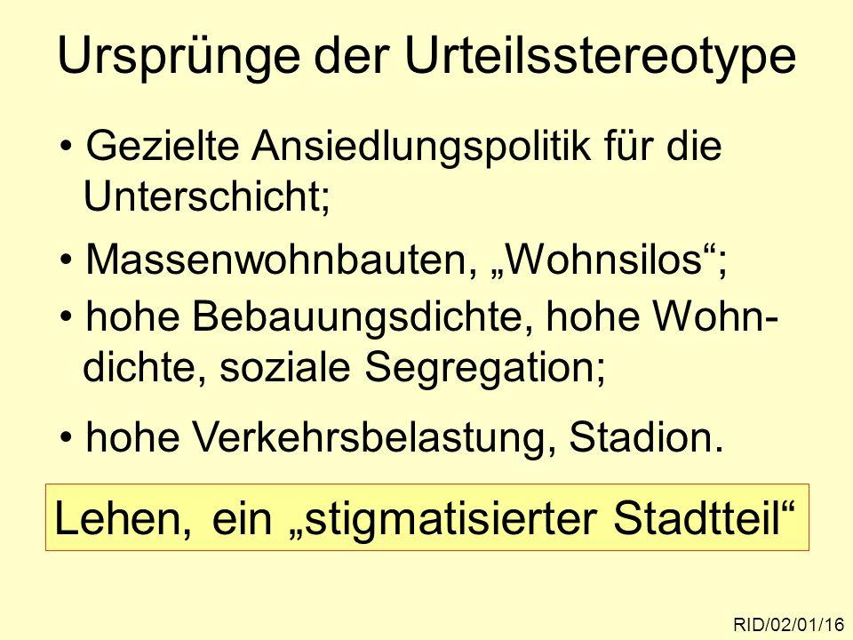 Ursprünge der Urteilsstereotype RID/02/01/16 Gezielte Ansiedlungspolitik für die Unterschicht; hohe Bebauungsdichte, hohe Wohn- dichte, soziale Segreg