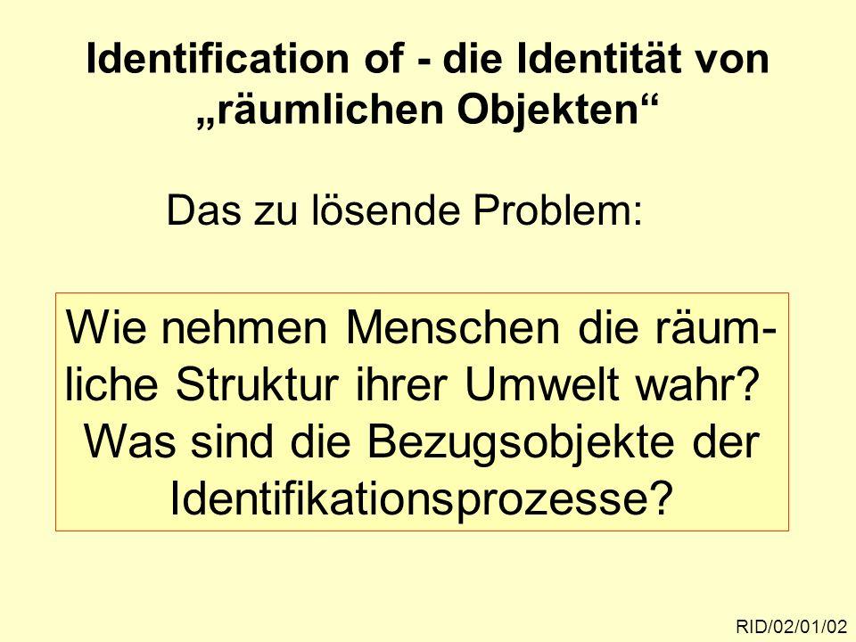 RID/02/01/02 Identification of - die Identität von räumlichen Objekten Das zu lösende Problem: Wie nehmen Menschen die räum- liche Struktur ihrer Umwe