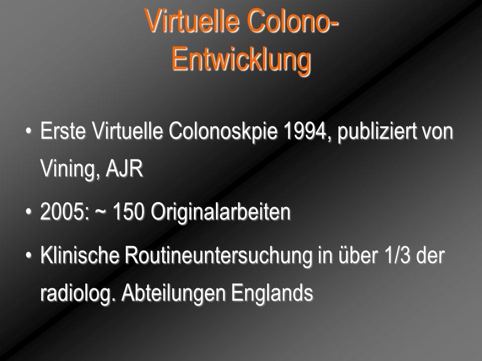 Virtuelle Colono- Entwicklung Erste Virtuelle Colonoskpie 1994, publiziert von Vining, AJRErste Virtuelle Colonoskpie 1994, publiziert von Vining, AJR