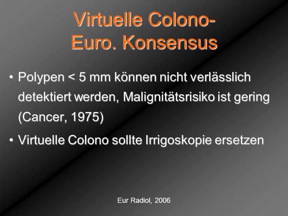 Virtuelle Colono- Euro. Konsensus Polypen < 5 mm können nicht verlässlich detektiert werden, Malignitätsrisiko ist gering (Cancer, 1975)Polypen < 5 mm
