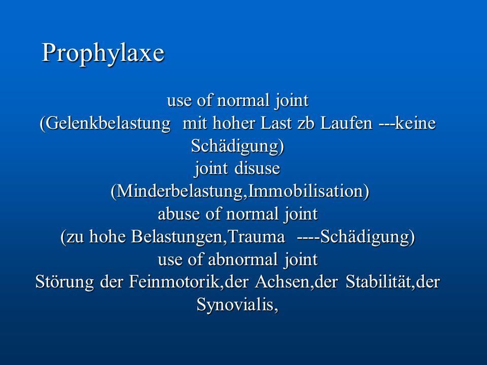 Prophylaxe use of normal joint (Gelenkbelastung mit hoher Last zb Laufen ---keine Schädigung) joint disuse (Minderbelastung,Immobilisation) (Minderbel