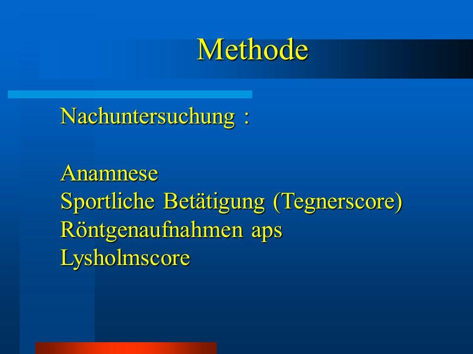 Methode Methode Nachuntersuchung : Anamnese Sportliche Betätigung (Tegnerscore) Röntgenaufnahmen aps Lysholmscore