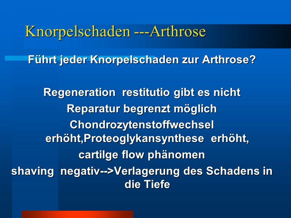 Knorpelschaden ---Arthrose Führt jeder Knorpelschaden zur Arthrose? Regeneration restitutio gibt es nicht Reparatur begrenzt möglich Chondrozytenstoff