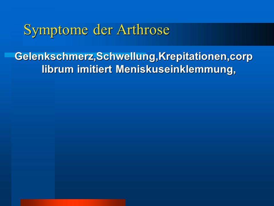 Symptome der Arthrose Gelenkschmerz,Schwellung,Krepitationen,corp librum imitiert Meniskuseinklemmung,