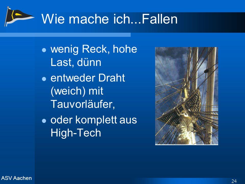 ASV Aachen 24 Wie mache ich...Fallen wenig Reck, hohe Last, dünn entweder Draht (weich) mit Tauvorläufer, oder komplett aus High-Tech