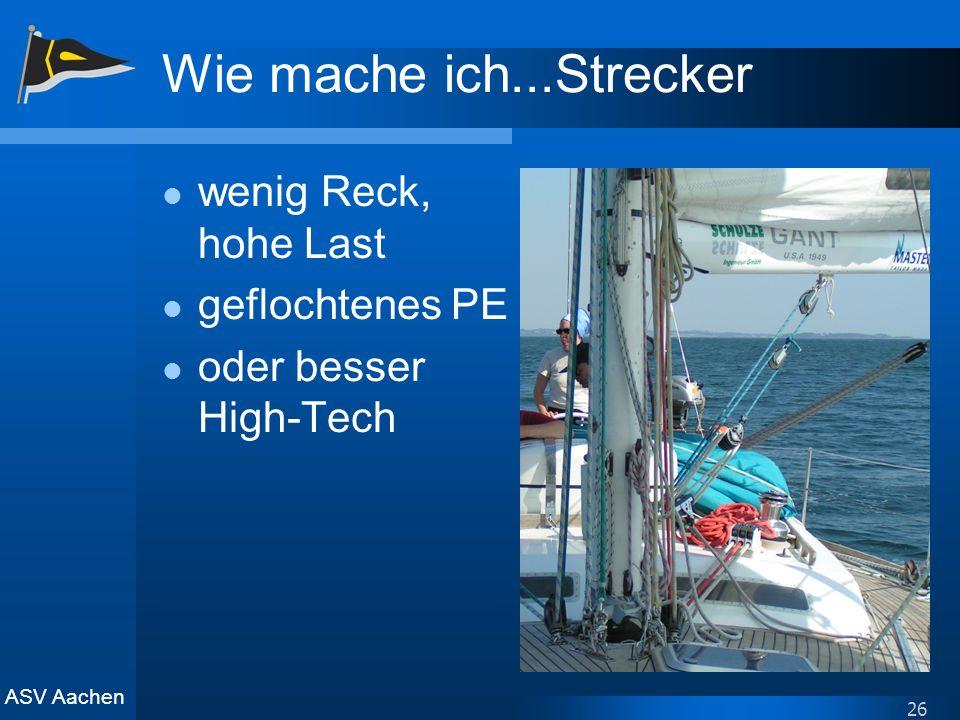 ASV Aachen 26 Wie mache ich...Strecker wenig Reck, hohe Last geflochtenes PE oder besser High-Tech
