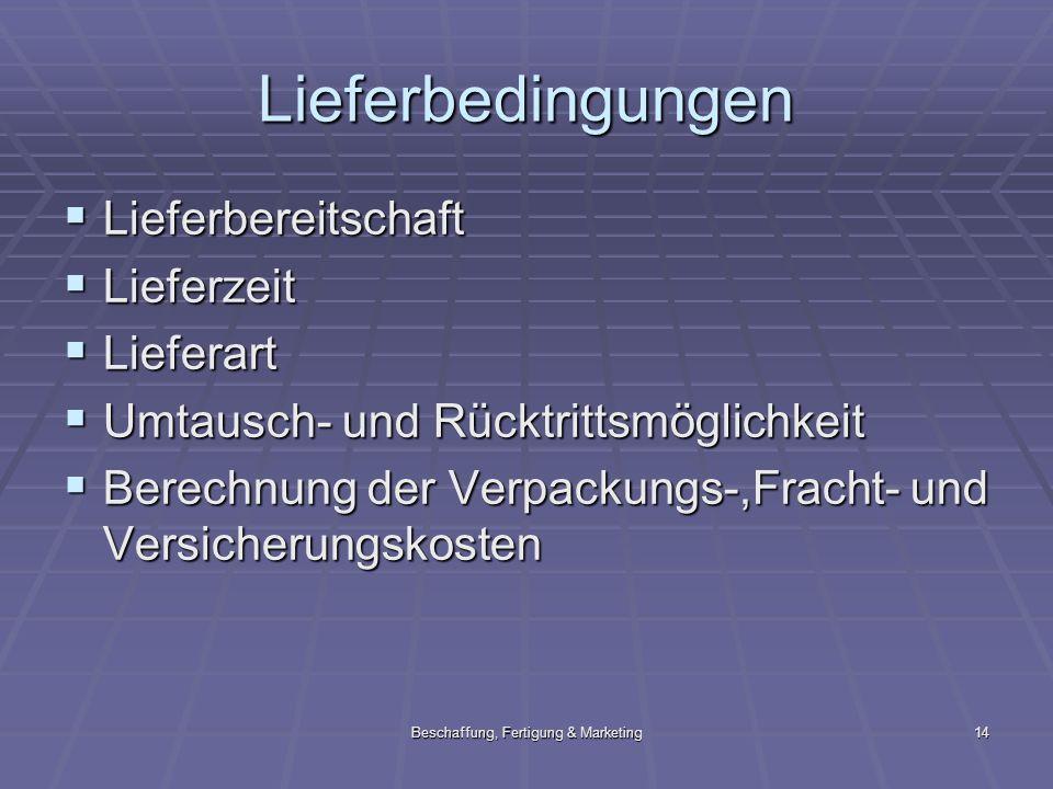 Beschaffung, Fertigung & Marketing14 Lieferbedingungen Lieferbereitschaft Lieferbereitschaft Lieferzeit Lieferzeit Lieferart Lieferart Umtausch- und R