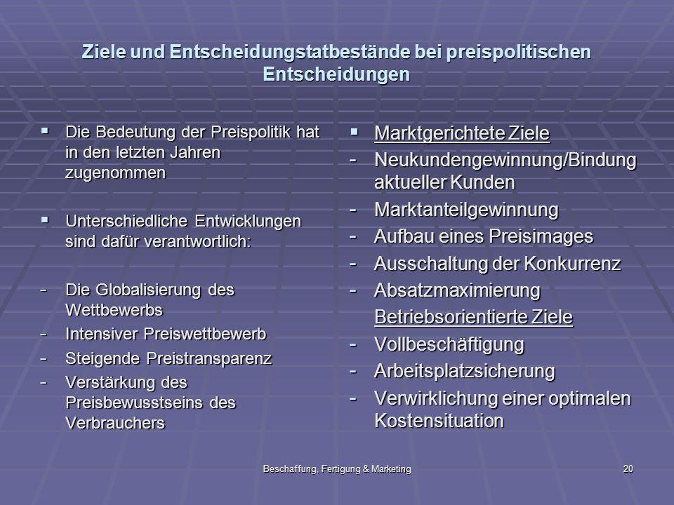 Beschaffung, Fertigung & Marketing20 Ziele und Entscheidungstatbestände bei preispolitischen Entscheidungen Die Bedeutung der Preispolitik hat in den