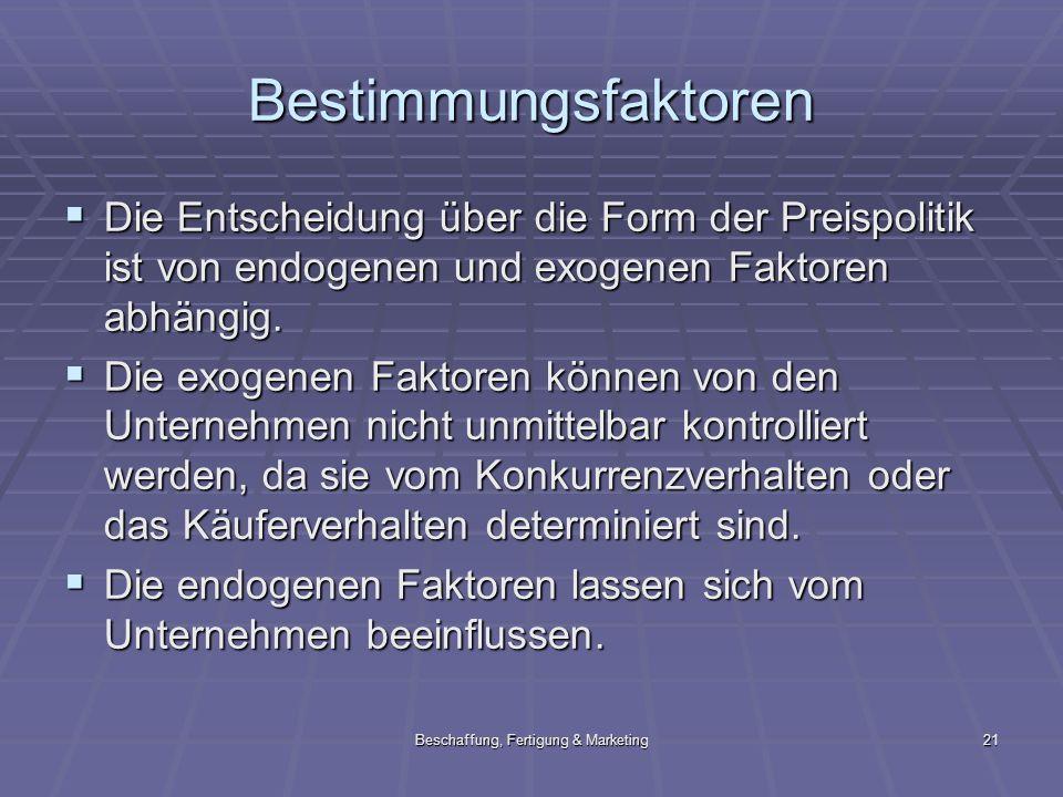 Beschaffung, Fertigung & Marketing21 Bestimmungsfaktoren Die Entscheidung über die Form der Preispolitik ist von endogenen und exogenen Faktoren abhän