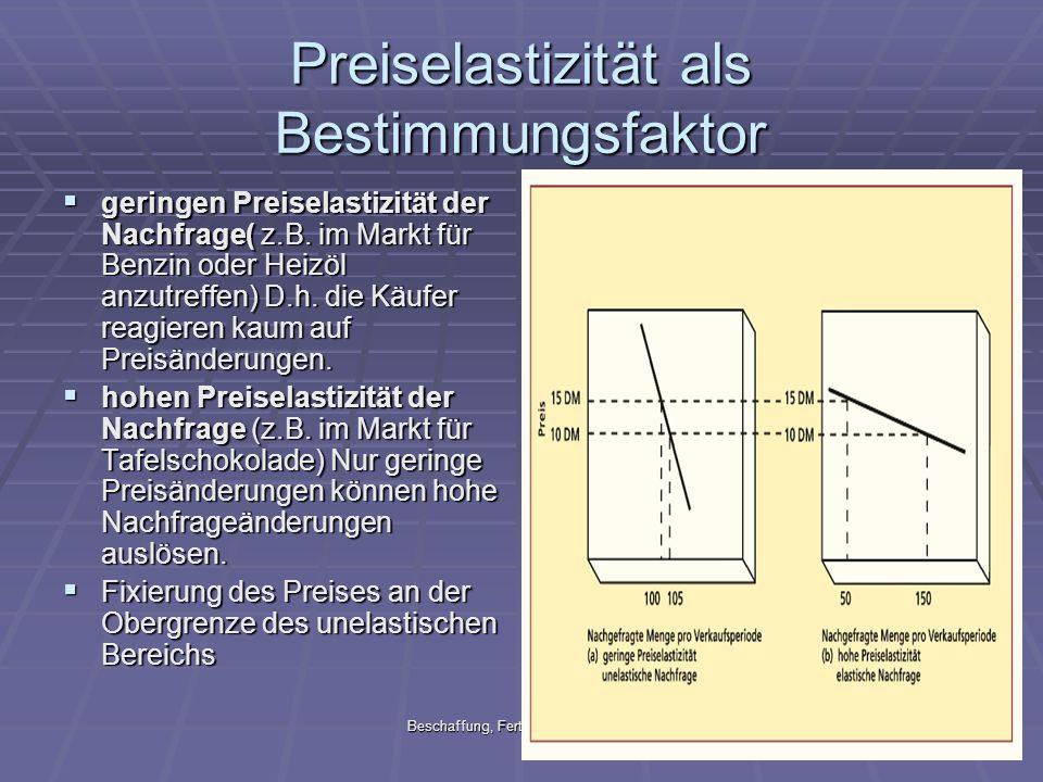 Beschaffung, Fertigung & Marketing24 Preiselastizität als Bestimmungsfaktor geringen Preiselastizität der Nachfrage( z.B. im Markt für Benzin oder Hei