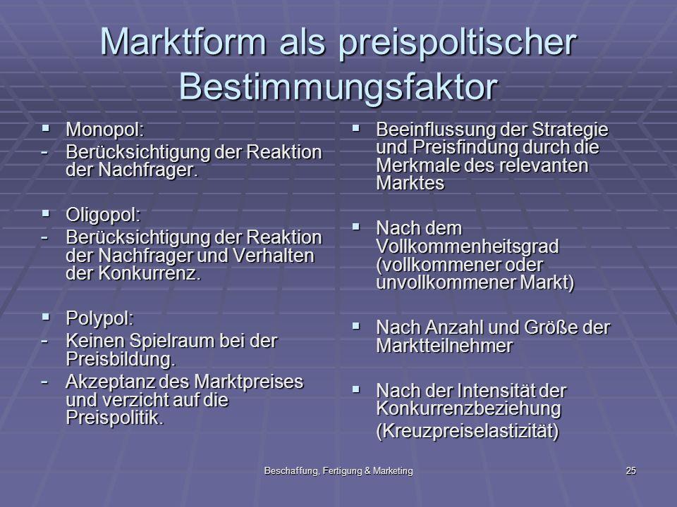 Beschaffung, Fertigung & Marketing25 Marktform als preispoltischer Bestimmungsfaktor Monopol: Monopol: - Berücksichtigung der Reaktion der Nachfrager.
