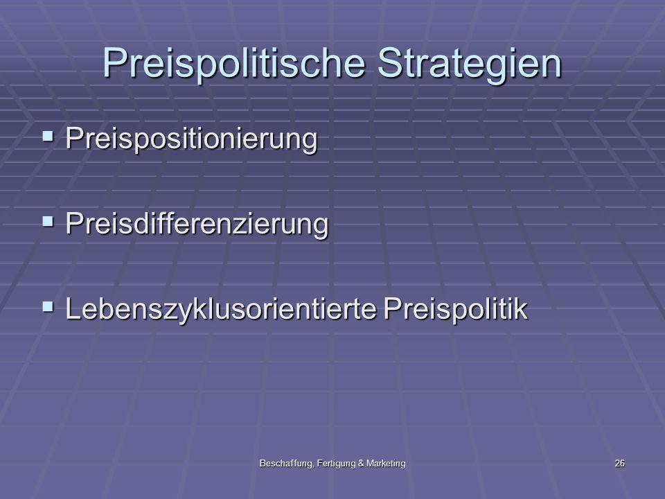 Beschaffung, Fertigung & Marketing26 Preispolitische Strategien Preispositionierung Preispositionierung Preisdifferenzierung Preisdifferenzierung Lebe