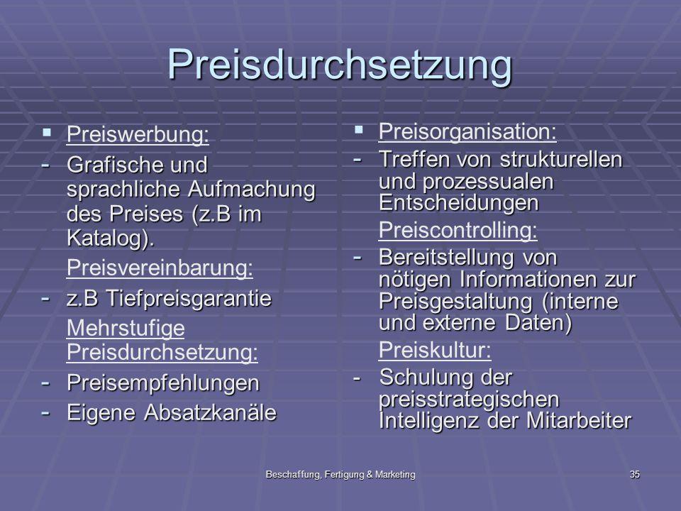 Beschaffung, Fertigung & Marketing35 Preisdurchsetzung Preiswerbung: - Grafische und sprachliche Aufmachung des Preises (z.B im Katalog). Preisvereinb