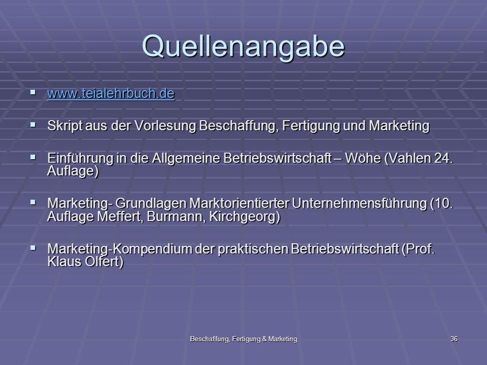 Beschaffung, Fertigung & Marketing36 Quellenangabe www.teialehrbuch.de www.teialehrbuch.de www.teialehrbuch.de Skript aus der Vorlesung Beschaffung, F