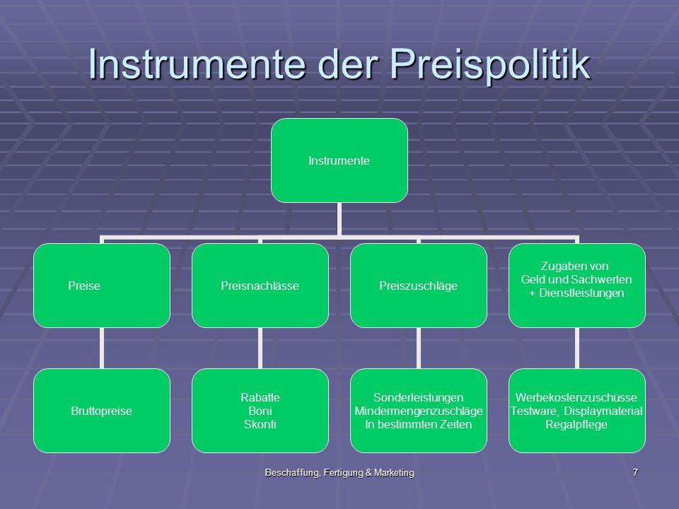 Beschaffung, Fertigung & Marketing7 Instrumente der Preispolitik Instrumente Preise Bruttopreise Preisnachlässe Rabatte Boni Skonti Preiszuschläge Son