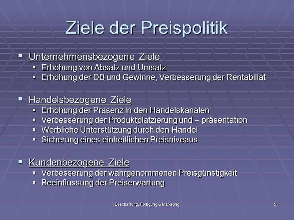 Beschaffung, Fertigung & Marketing9 Ziele der Preispolitik Unternehmensbezogene Ziele Unternehmensbezogene Ziele Erhöhung von Absatz und Umsatz Erhöhu
