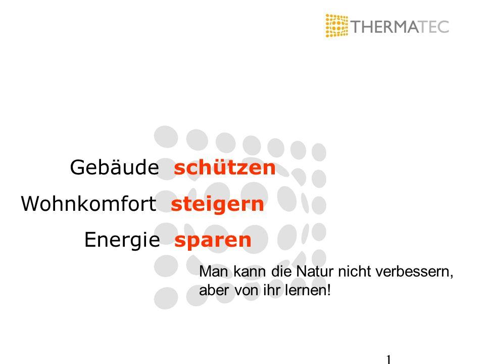 1 Man kann die Natur nicht verbessern, aber von ihr lernen! Gebäude schützen Wohnkomfort steigern Energie sparen