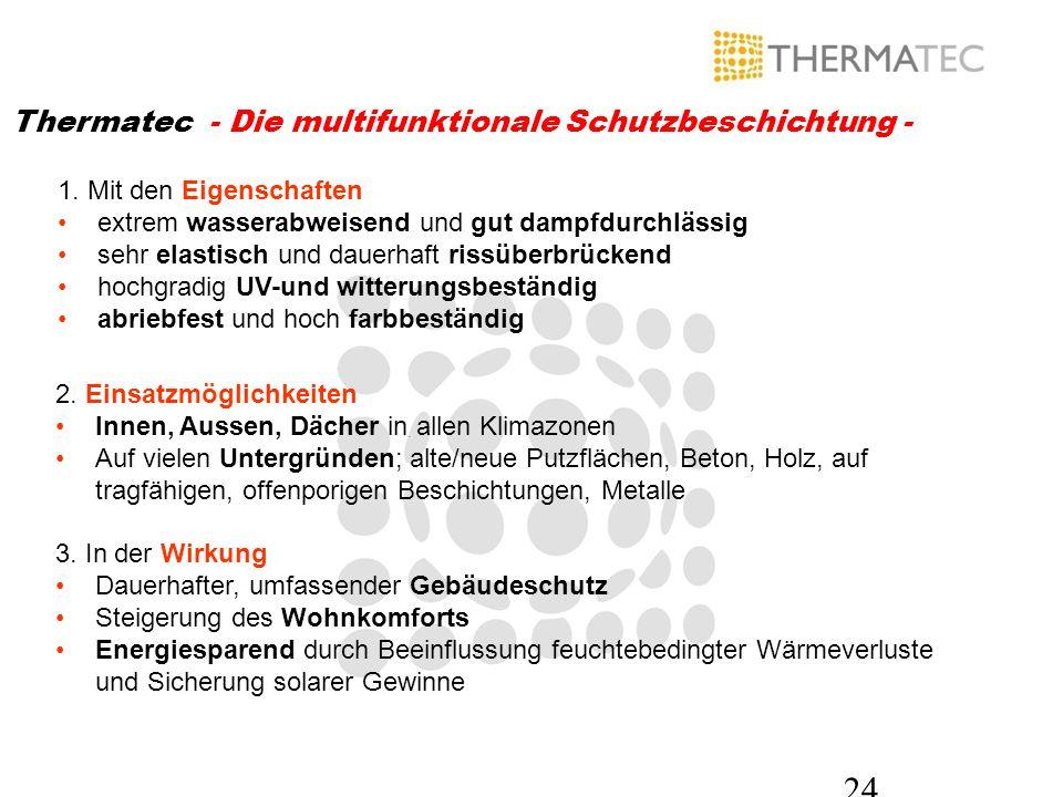 24 Thermatec - Die multifunktionale Schutzbeschichtung - 1. Mit den Eigenschaften extrem wasserabweisend und gut dampfdurchlässig sehr elastisch und d
