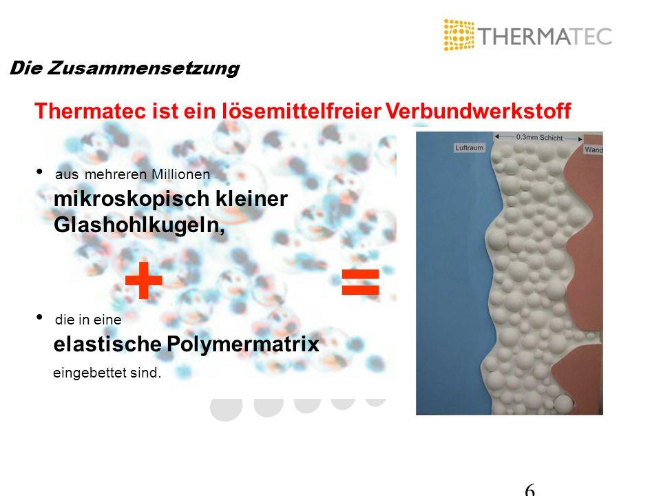 6 Die Zusammensetzung Thermatec ist ein lösemittelfreier Verbundwerkstoff = aus mehreren Millionen mikroskopisch kleiner Glashohlkugeln, + die in eine