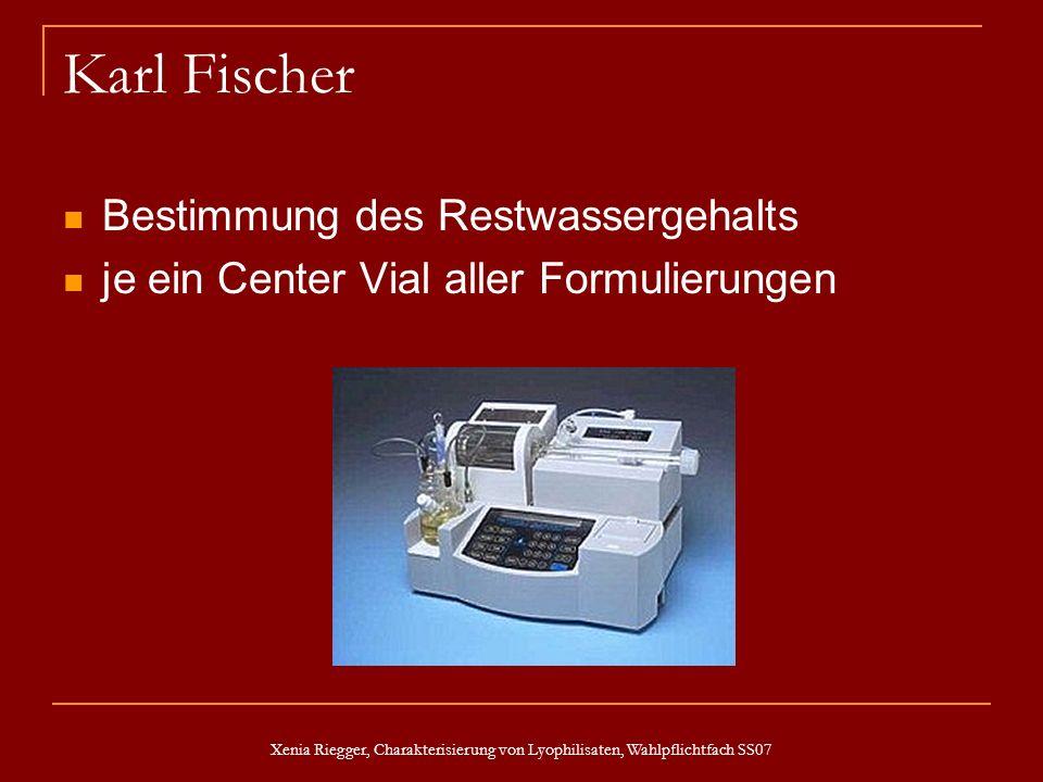 Xenia Riegger, Charakterisierung von Lyophilisaten, Wahlpflichtfach SS07 Karl Fischer Bestimmung des Restwassergehalts je ein Center Vial aller Formul