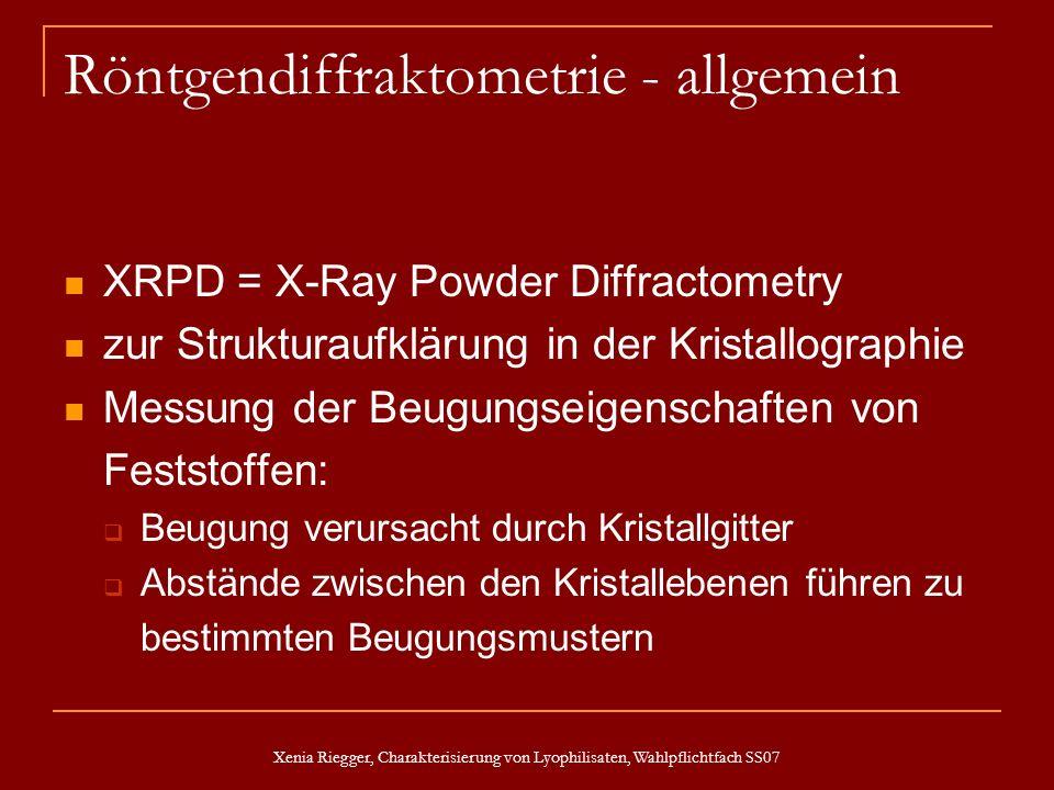 Xenia Riegger, Charakterisierung von Lyophilisaten, Wahlpflichtfach SS07 Röntgendiffraktometrie - allgemein XRPD = X-Ray Powder Diffractometry zur Str